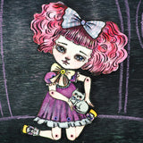 Kawaii bubble bum pink hair watercolor girl by Danita. Perfect gift for cat and animal pet lovers.
