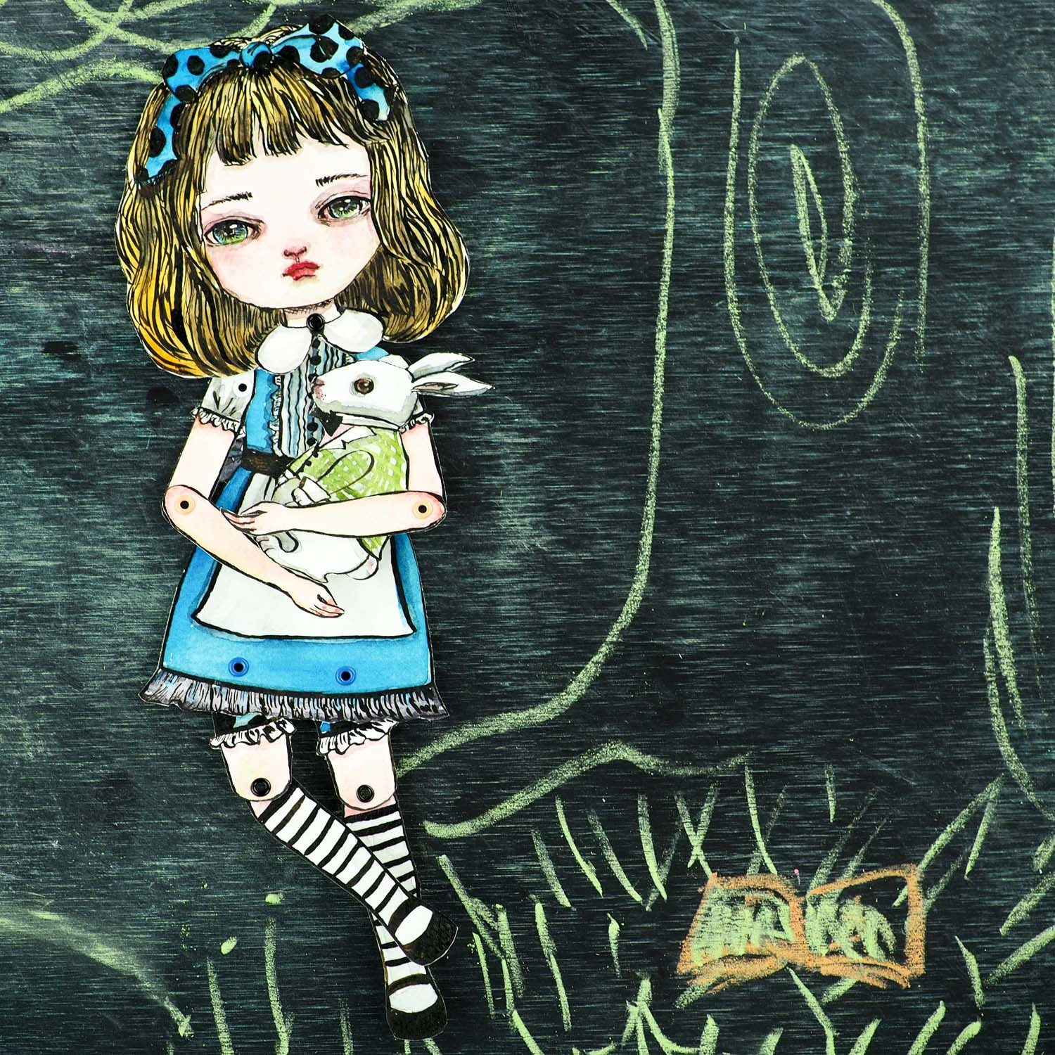 Jointed paper doll: Alice in Wonderland, Original Art by Danita Art