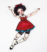 Anita the dancer performs in a stage created by Danita Art. Watercolor painting, handmade art doll in paper, ink and paints.