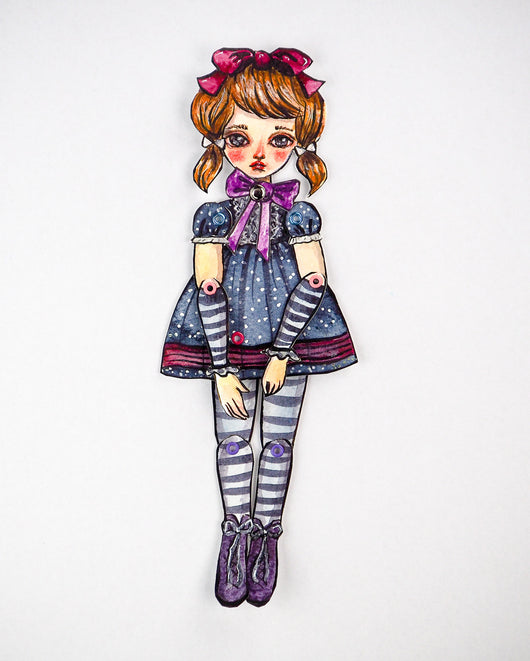 Original dress-up paper doll by Danita. Watercolor painting and mixed media, pencil, ink, charcoal create beautiful wall art doll.