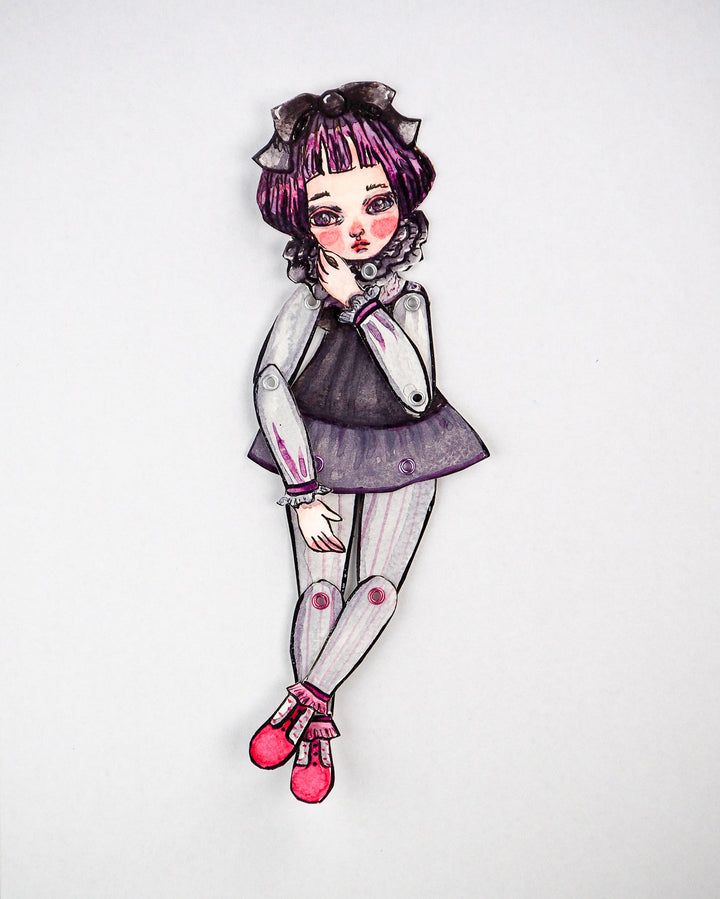 Watercolor original painting by Danita. A little ballerina girl is a dress-up jointed paper art doll.