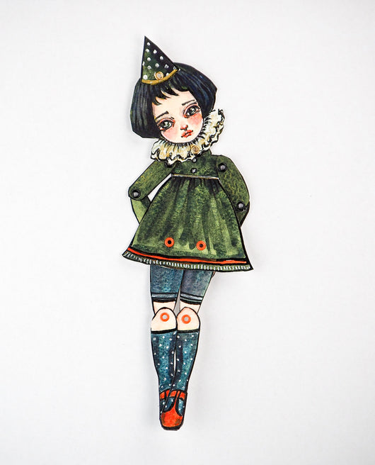 Original watercolor painting by Danita. It is a watercolor painting turned into the most beautiful posable paper doll. What adventures will you and this art doll when you hold her in your hands?
