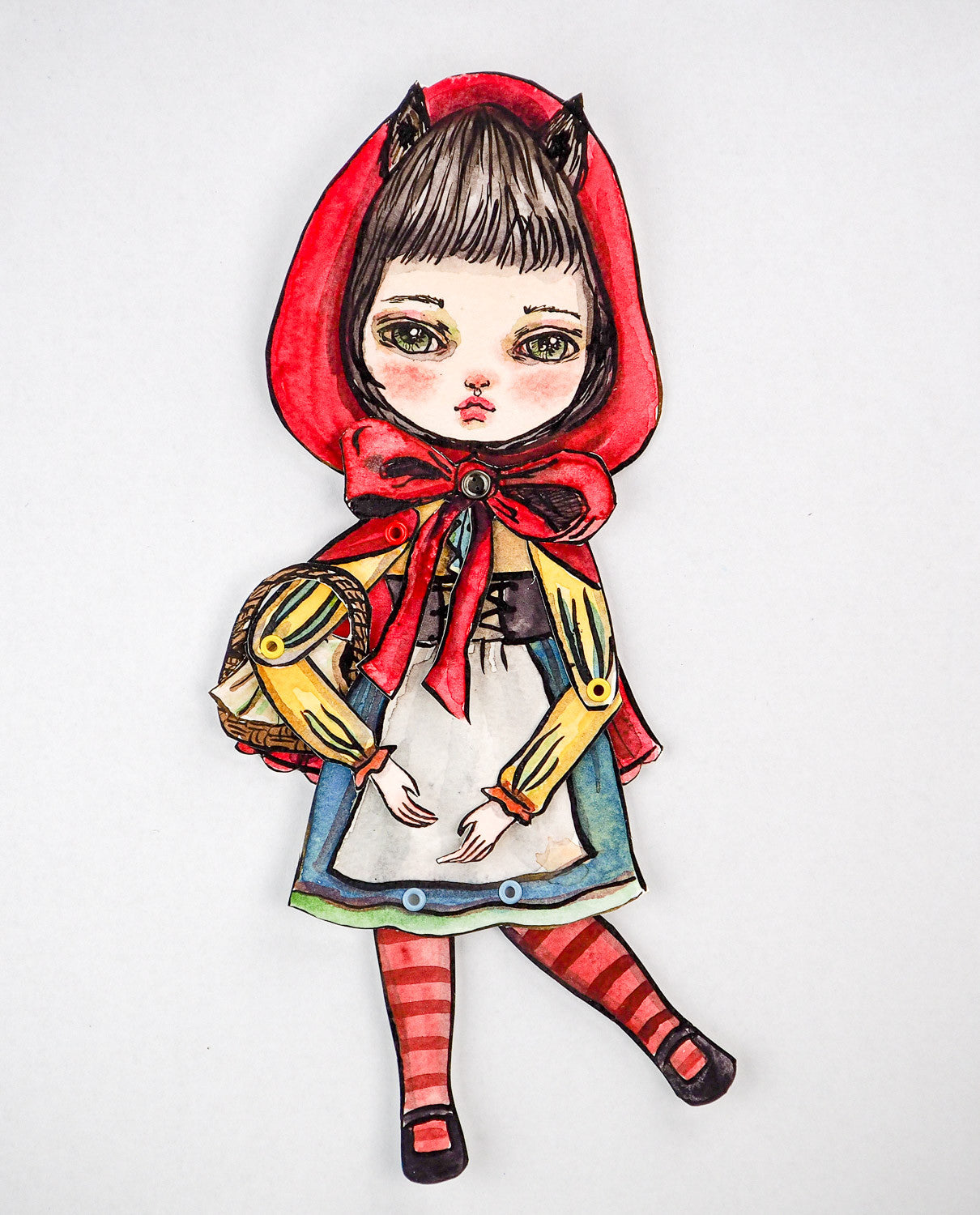 Jointed paper doll: Little red riding hood, Art Doll by Danita Art