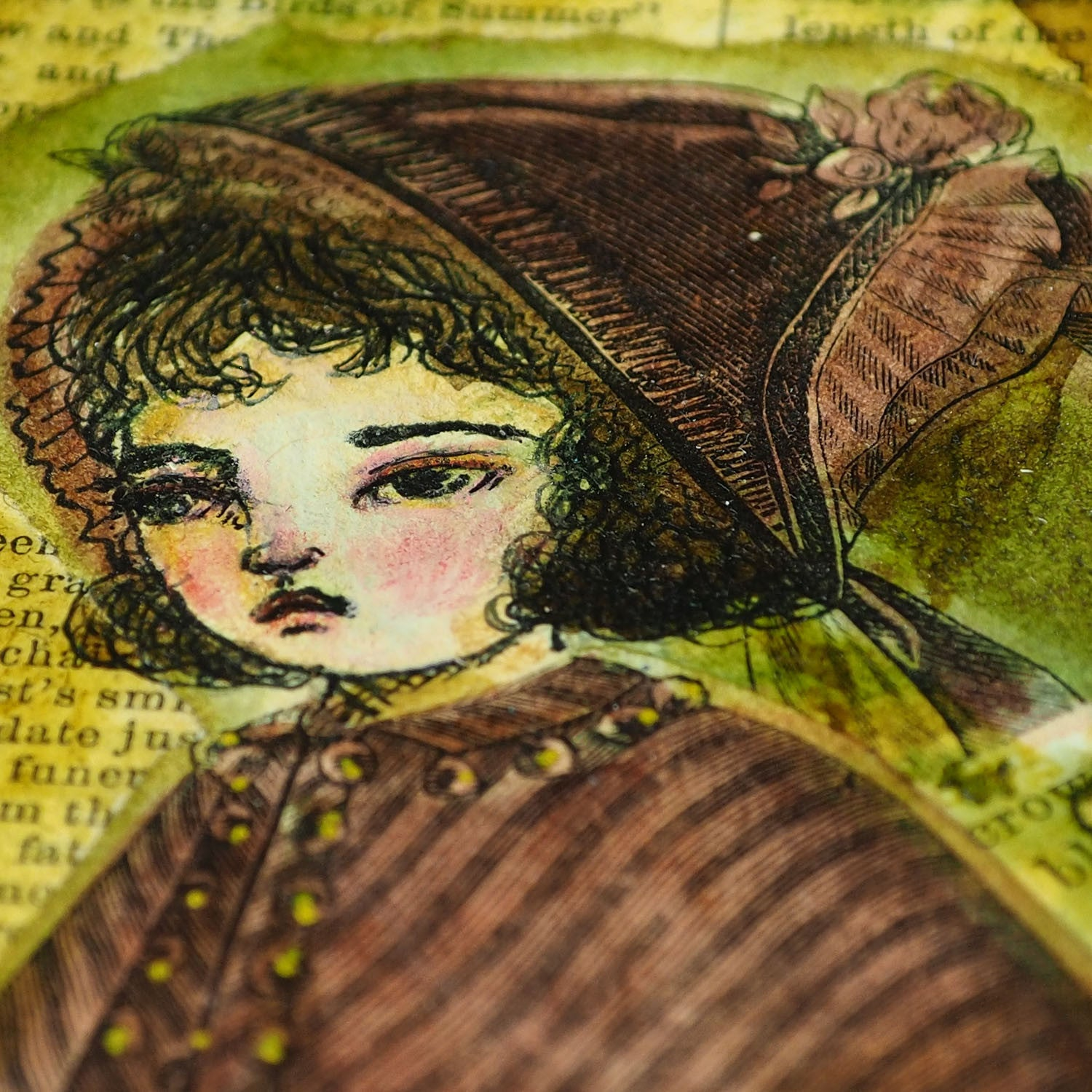 An original mixed media original panting by Danita. Little red riding hood in collage, watercolors and inks.