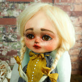 An original hand crafted art doll made by Danita. A blonde girl with a love for music, she plays her vintage vinyl records on her antique gramophone.