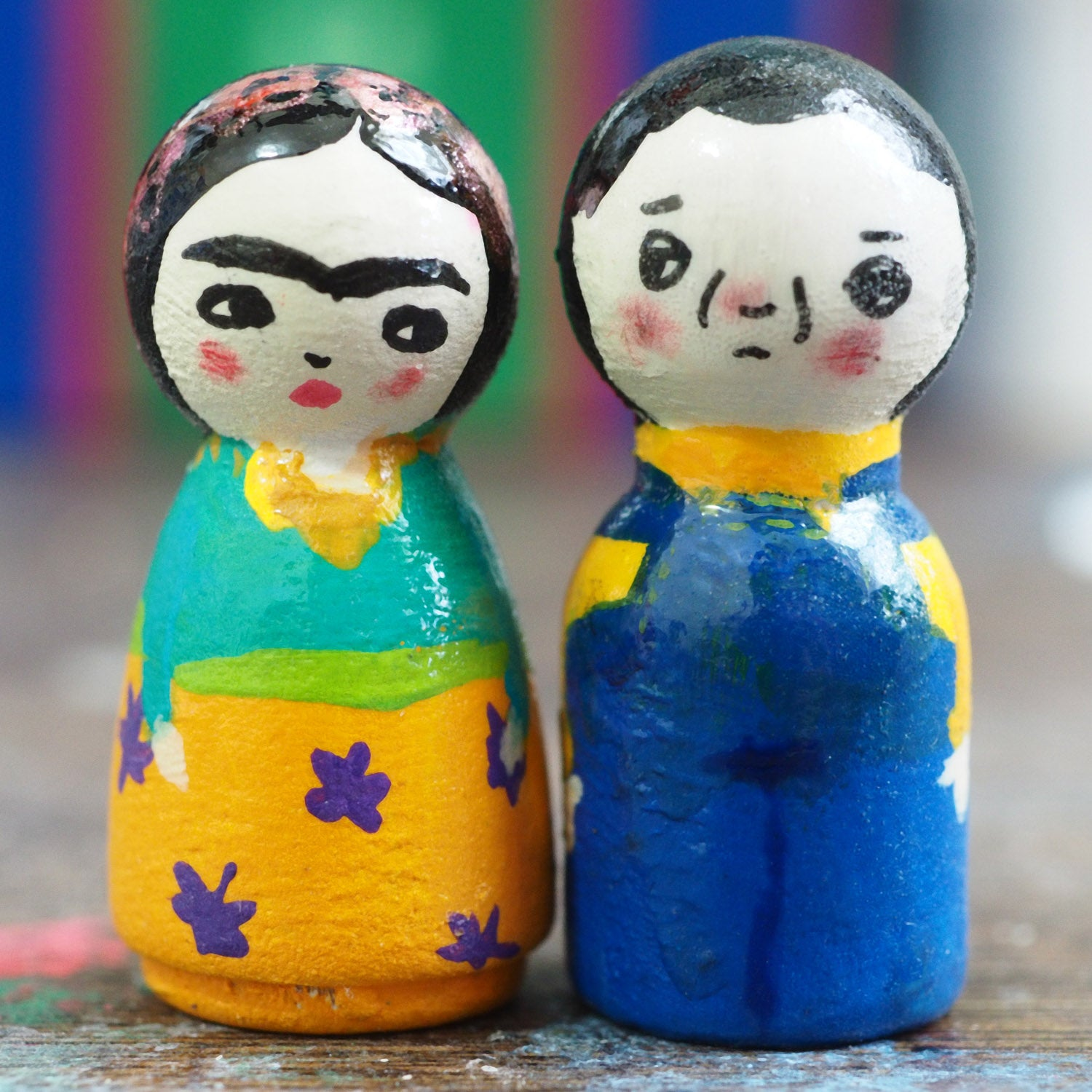 Frida and Diego - Micro kokeshi wood peg dolls by Danita, Miniature Dolls by Danita Art
