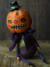 Original Halloween art doll original creation by Danita Art. Paper Clay, sculpted and painted in a spooky whimsical unique work of art.