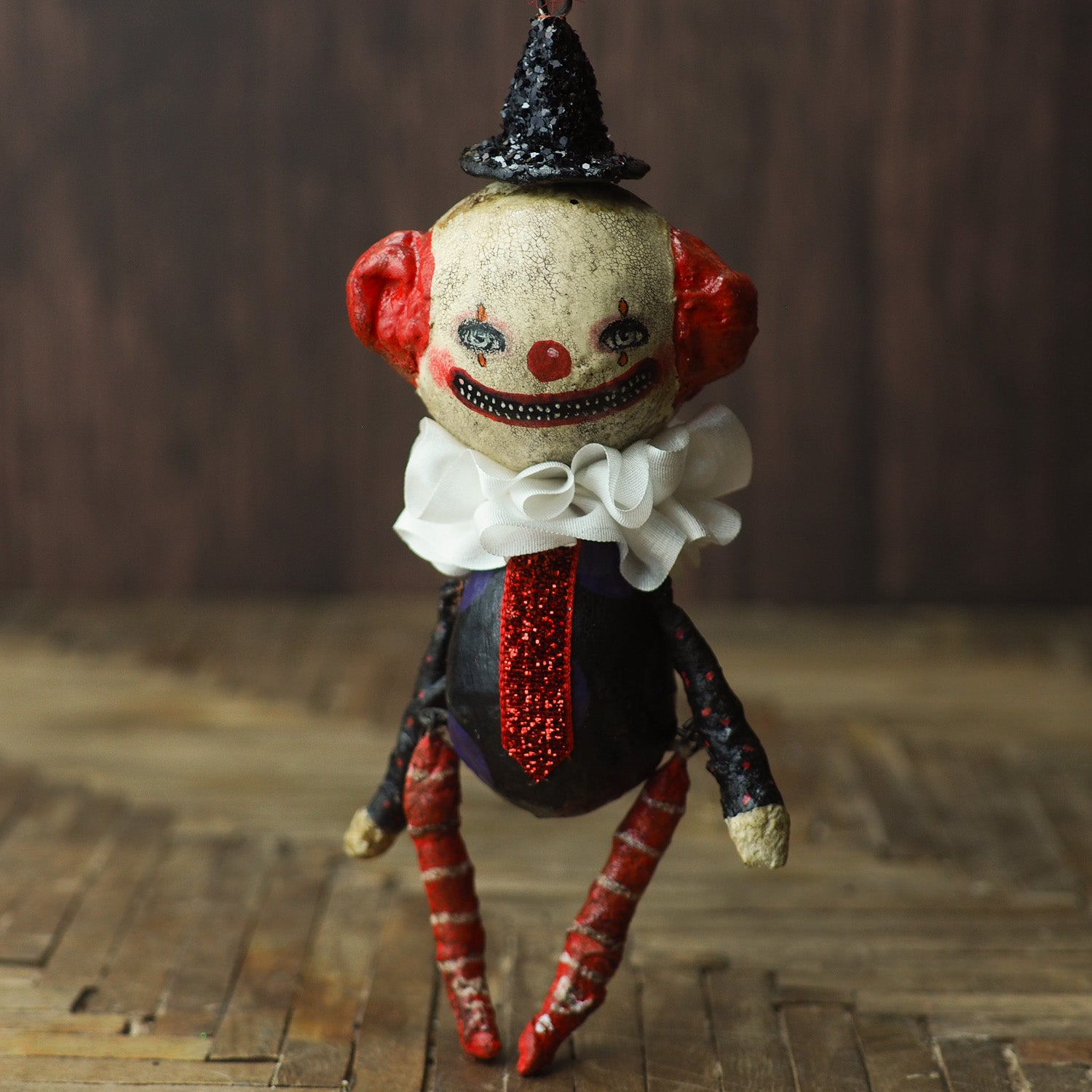 Original Halloween art doll original creation by Danita Art. Paper Clay, sculpted and painted in a spooky whimsical unique work of art. Clown IT Pennywise Evil.