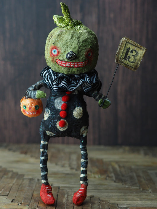 Original Halloween art doll original creation by Danita Art. Paper Clay, sculpted and painted in a spooky whimsical unique work of art. jack-o-lantern pumpkin skull spun cotton.