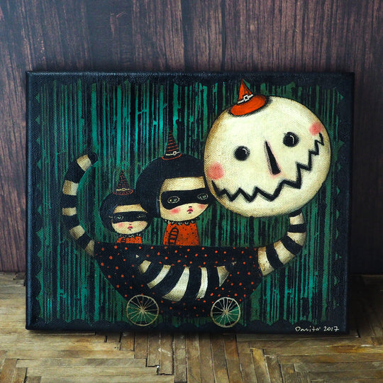 Halloween is celebrated by Danita in the best way, with an amazing collection of mixed media witches, pumpkins and strange characters the lurk in darkness on Halloween.
