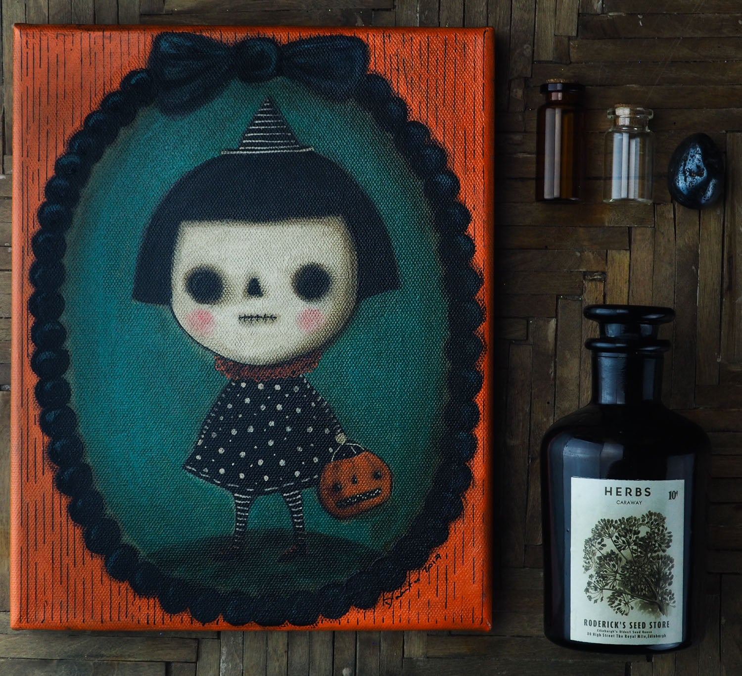 Original painting by Danita Art. Mixed media art using acrylics, oils, pastels, graphite and color pencils for an amazing Halloween decoration to accent your home decor.