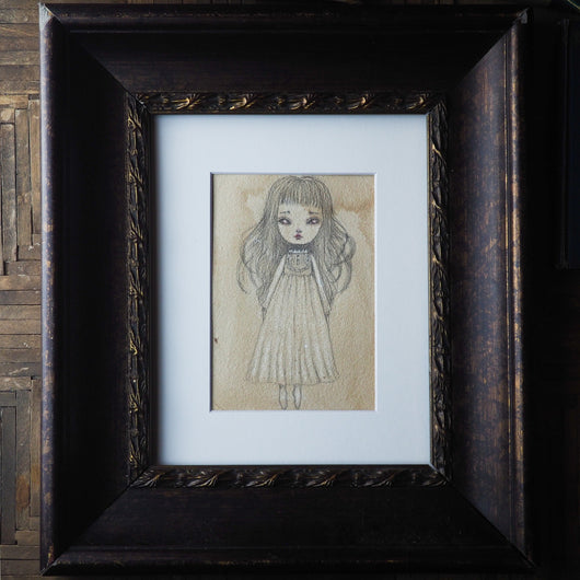 Little ghost girl by Danita Art on graphite pencil over paper. A beautiful Halloween art original painting, perfect to decorate this Halloween.
