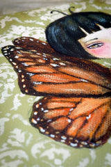 Monarch butterfly Danita original painting. Inspired by a dying butterfly, a surreal melancholic girl frozen in time. Mixed media art home decor original illustration.