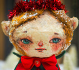 Handmade Christmas Elf tree ornament doll by Danita. Whimsical folk art spun cotton home decor figurine for Holiday season, covered in vintage mica.