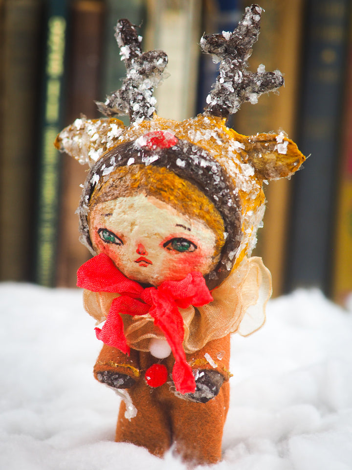Rudolph the red nose reindeer Christmas tree ornament doll by Danita. Handmade mini doll figurine for your holiday gift list.