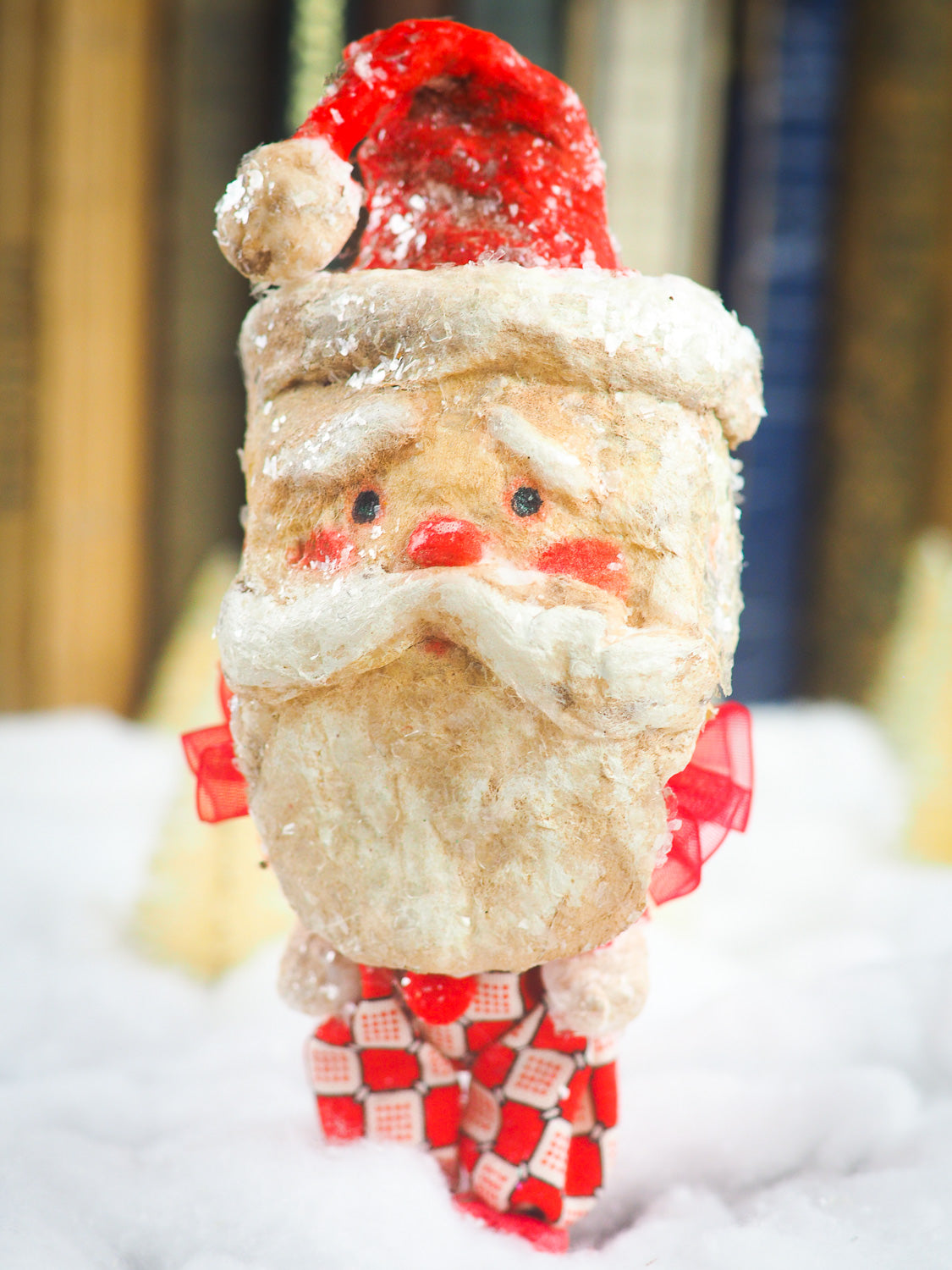Handmade Christmas tree ornament Santa Claus doll by Danita. Whimsical folk art spun cotton home decor figurine for Holiday season, covered in vintage mica.