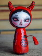 Danita original wooden kokeshi art doll. Home decor Halloween red devil girl mini figurine, perfect to decorate desks and shelves. Collectible items from Danita!