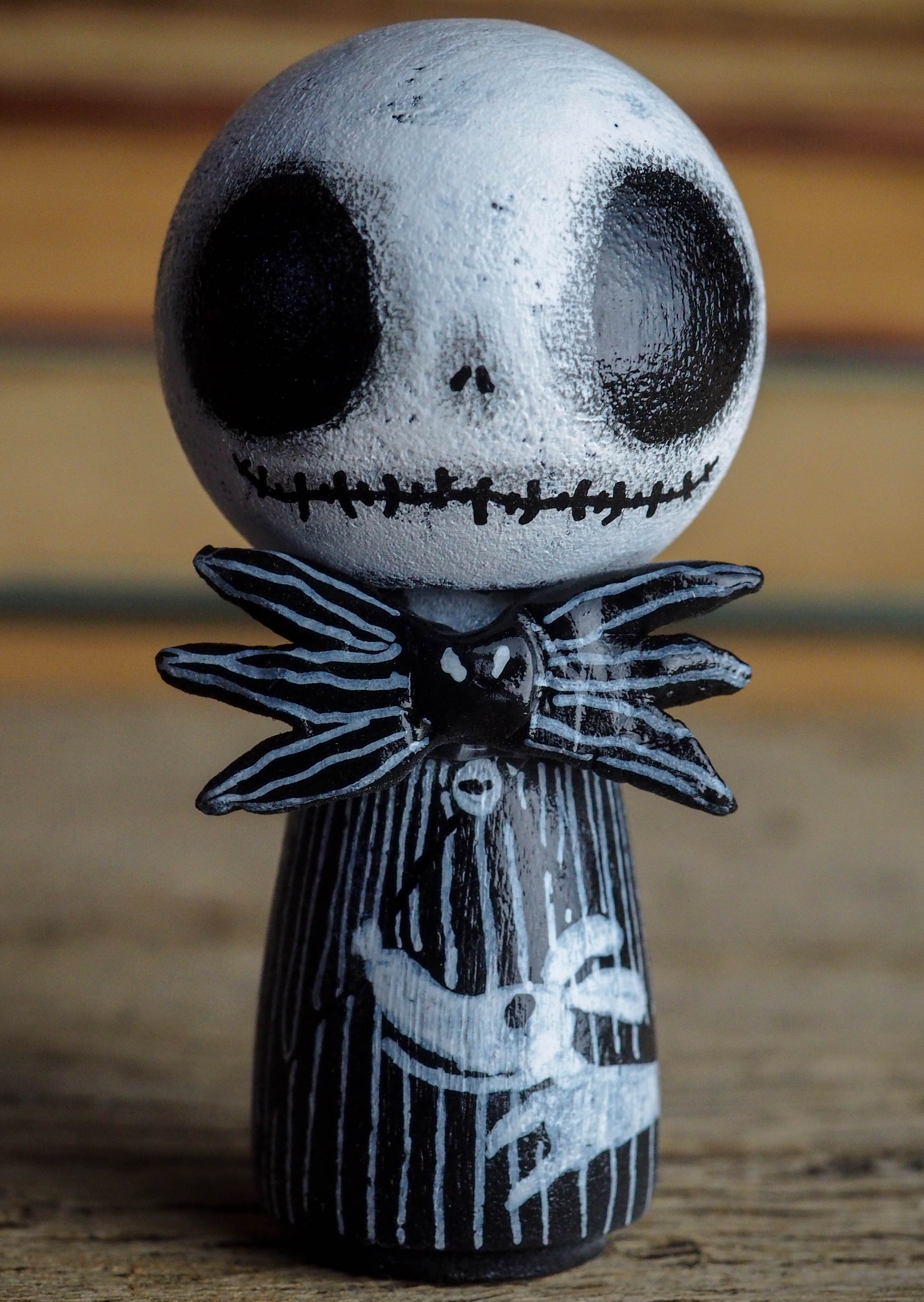 JACK THE PUMPKIN KING AND SALLY - Halloween and the nightmare before Christmas mini fig. A Kokeshi wood peg doll handmade by Danita, Miniature Dolls by Danita Art