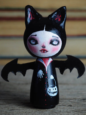 HANNAH THE VAMPIRE BAT - Danita Halloween hand made minifig. A Kokeshi wood peg doll handmade by Danita, Miniature Dolls by Danita Art