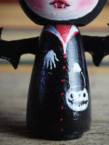 Danita original wooden kokeshi art doll. Home decor Halloween vampire bat girl mini figurine, perfect to decorate desks and shelves. Collectible items from Danita!
