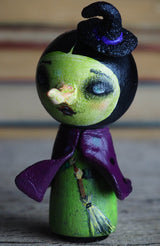 Original Wicked witch west east wizard of Oz Kokeshi halloween mini art doll by Danita. Adorable handmade peg dolls, great home decor.