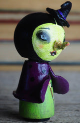 THE WICKED WITCH - Danita Halloween hand made minifig. A Kokeshi wood peg doll handmade by Danita