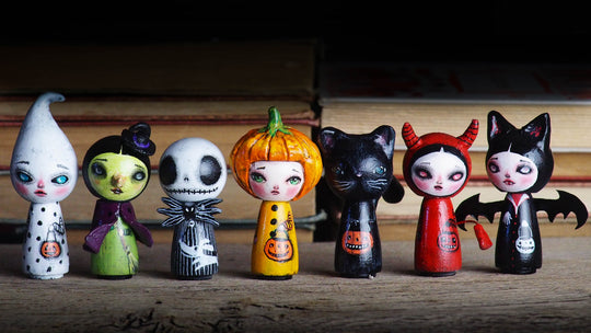 Halloween Kokeshi Art Doll by Danita - MADE TO ORDER