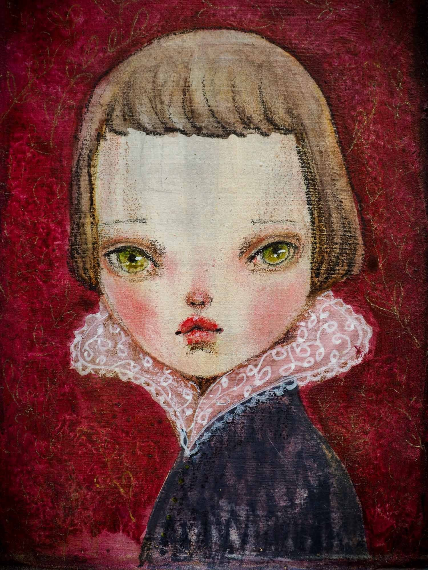 An original watercolor painting by Danita Art. Royal woman portrait with green eyes in watercolor over metal by Mexican mixed media painter and doll maker Danita.