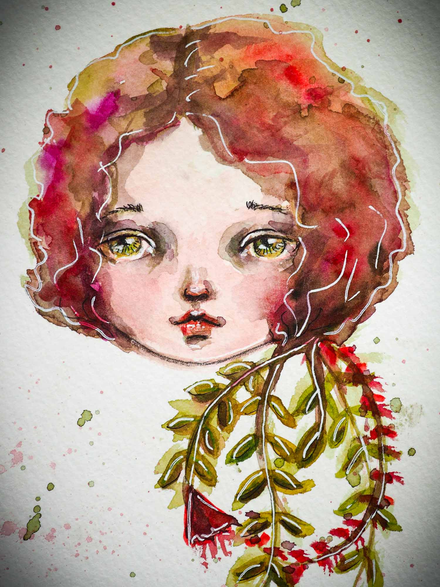 Watercolor on paper original painting by Danita Art. A blooming rose has the face of a green eyed girl as she open her hair petals and hair.