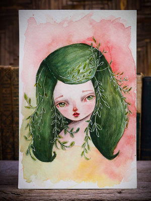 MOTHER OF PLANTS, a fantasy inspired watercolor painting on paper by Danita Art. This girl has leaves in her hair and earth tones that will match nicely a home full of plants and nature. By Danita Art.