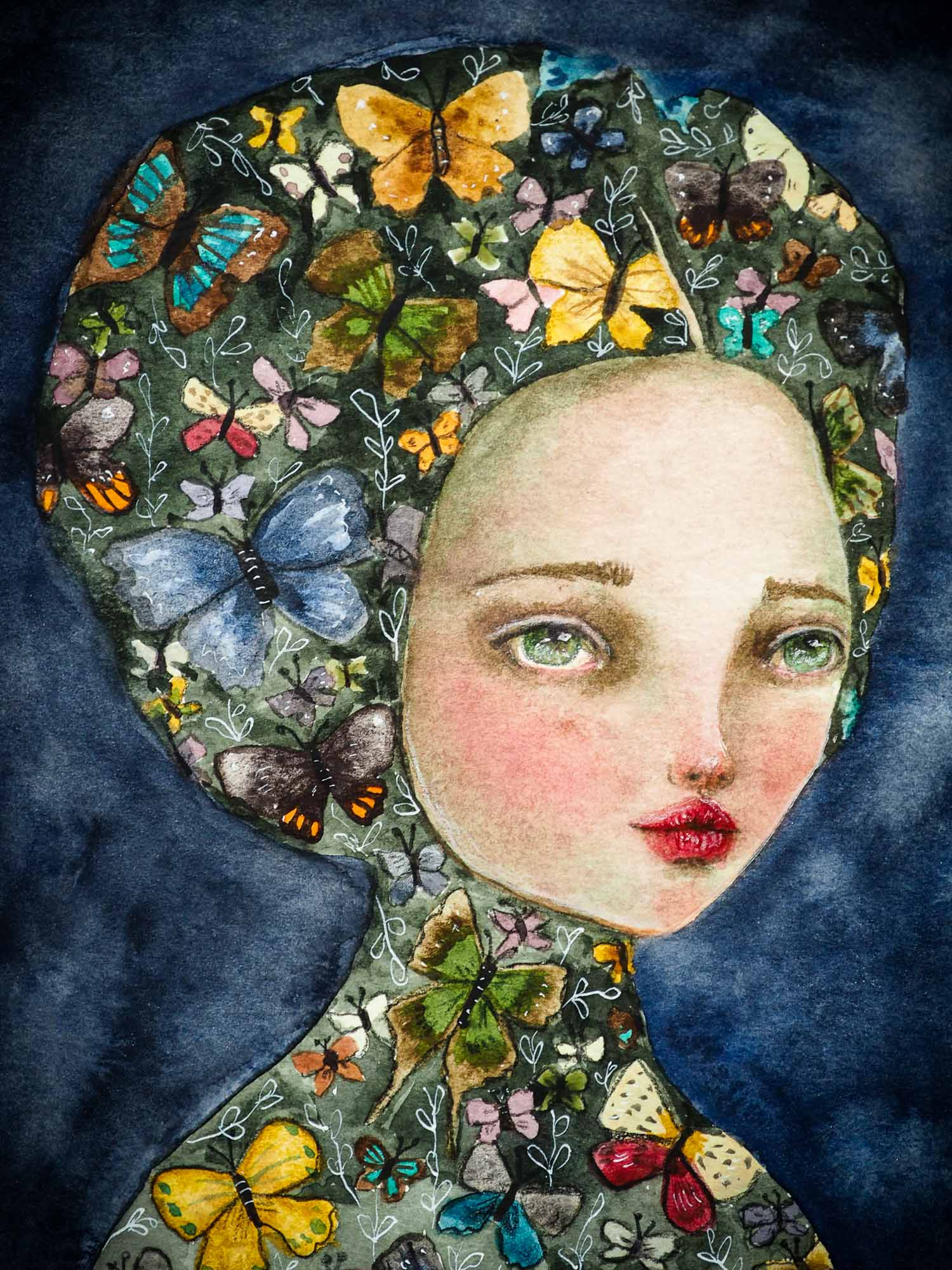 original watercolor covered woman illustration by Danita Art. Made on sturdy professional watercolor paper, it's a surreal image that will be the highlight of your Danita fine art collection.