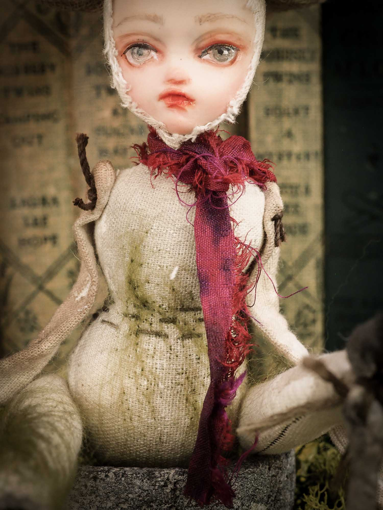 An original handmade art doll by Danita Art, made with original patterns, organic fabric dyed using only natural ingredients like avocado peels, walnuts and marigolds. Each mini art doll in this toy collection is a mini work of huggable fabric art that will be treasured by any collector of Danita's melancholic and fantastic work.