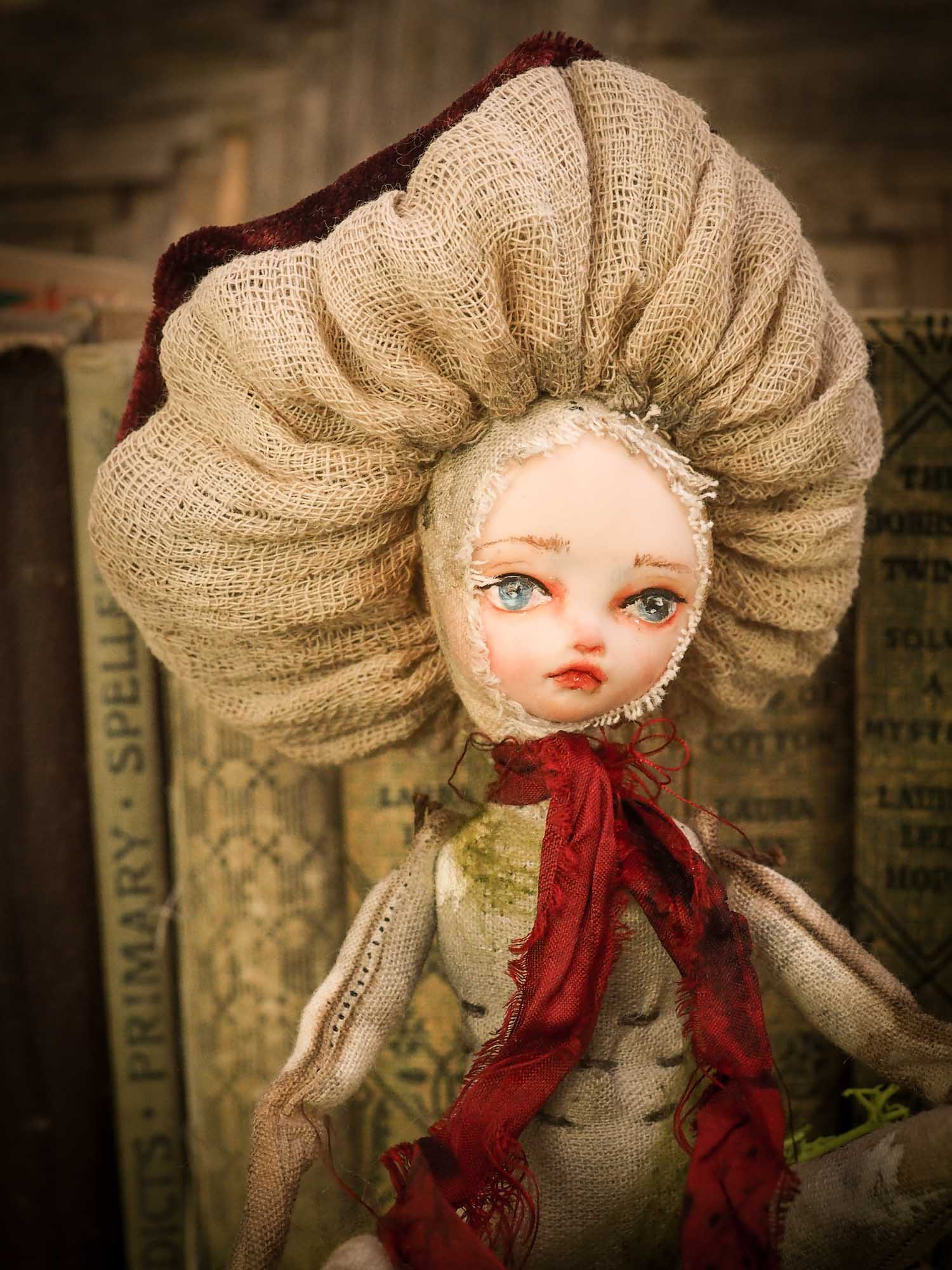 An original forest fairy mushroom fungi toadstool girl art doll handmade by Danita Art, using with original patterns, organic fabric dyed using only natural ingredients like avocado peels, walnuts and marigolds. Each mini art doll in this toy collection is a mini work of huggable fabric art that will be treasured by any collector of Danita's melancholic and fantastic work.