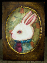 Alice's wild chase of a white rabbit took her on amazing adventures adventures in Wonderland, and here he is on this painting inspired by the beautiful book, created by Danita Art.