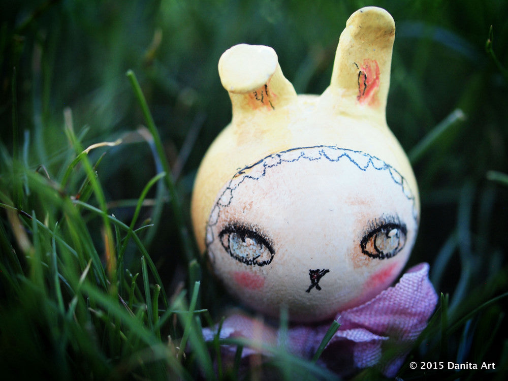 Lemon, the yellow kokeshi Easter bunny, Miniature Dolls by Danita Art