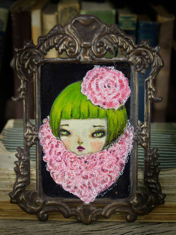 The girl in the pink scarf, Original Art by Danita Art