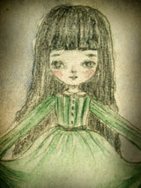 An original mixed media painting in watercolor and pencil by Danita Art, this lovely girl has a dress with a green just the sea I love to visit, where waters are shallow and full of life, and it extends beyond the horizon.