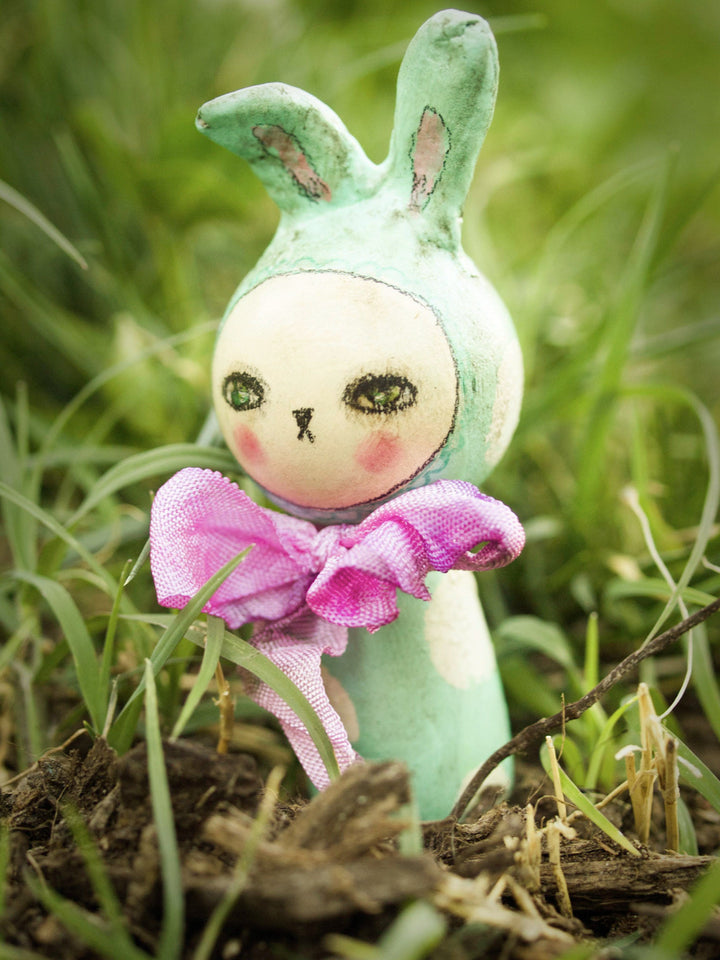 Danita's handmade kokeshi woodland creature dolls include these colorful Easter bunny rabbits, made to celebrate a very important holiday with love and beautiful art.