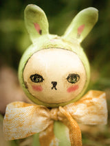 Beautiful handmade Easter bunny rabbit kokeshi art dolls are dwelling in the woods of Danita's fantasy land.