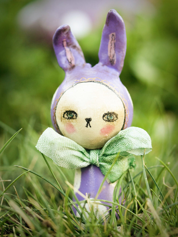 This little adorable easter bunny is a handmade Kokeshi wooden art doll created by Danita Art