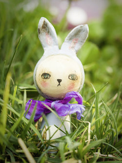 Little and super cute miniature Easter bunnies have hopped along to Danita Art. These adorable wooden kokeshi handmade dolls are really beautiful.