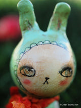 Aqua, the blue kokeshi Easter bunny, Art Doll by Danita Art