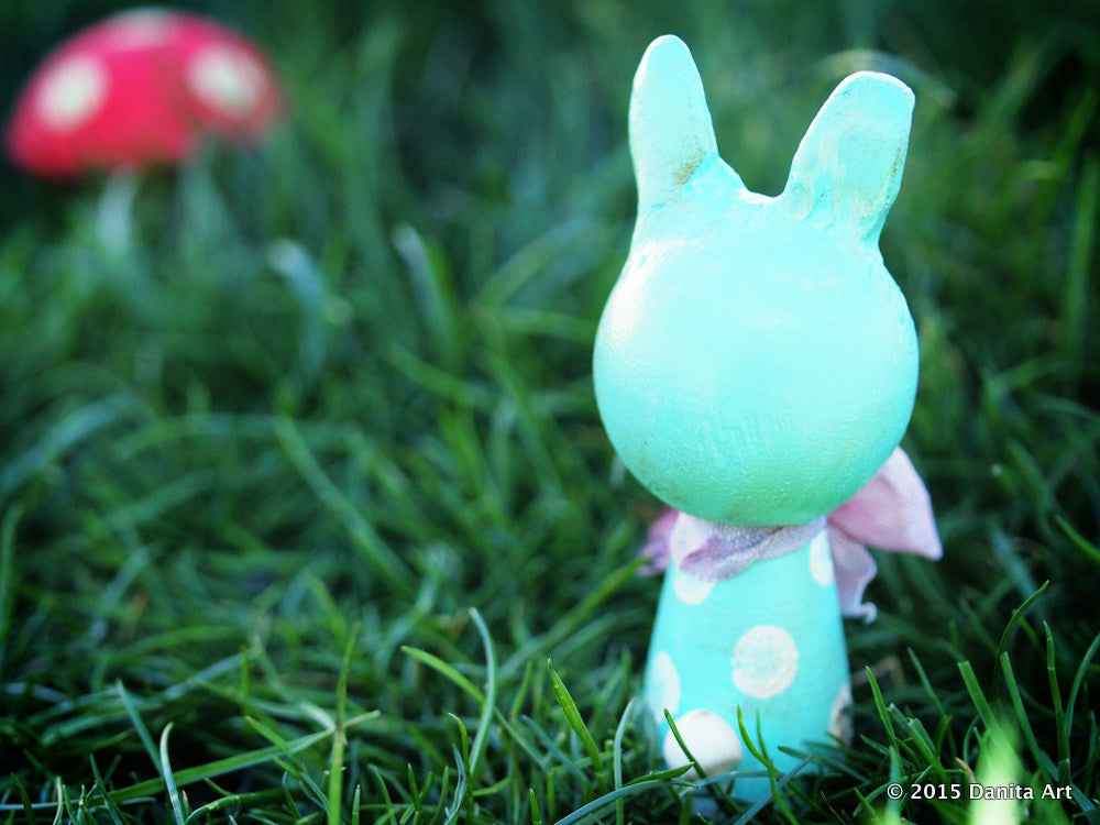 Turquoise, the blue kokeshi Easter bunny, Miniature Dolls by Danita Art