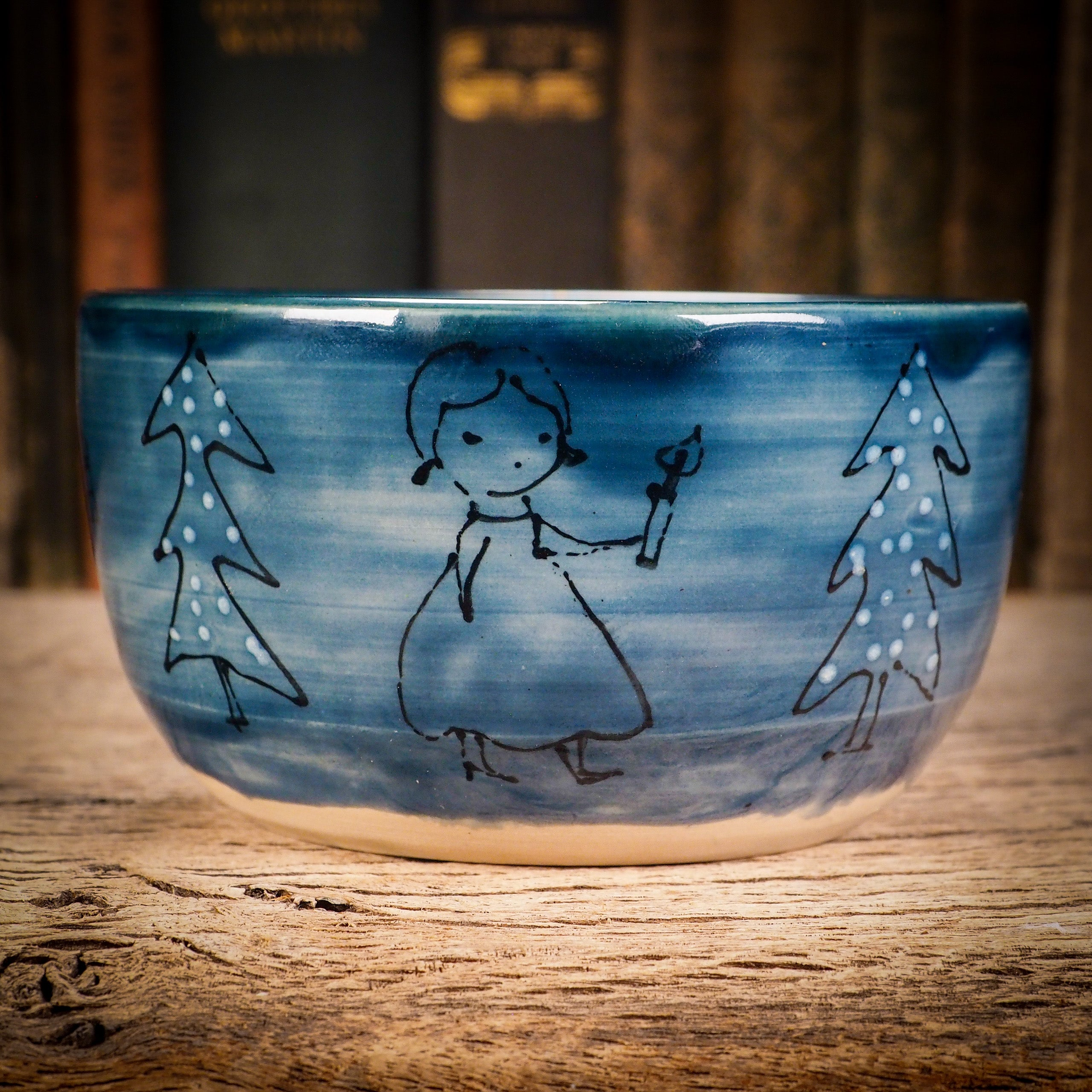 Ready for your Christmas candy and sweets, this original ceramic bowl from Idania Salcido, Danita Art is Handmade glazed ceramic bowl measures 4.5 inches in diameter, hand decorated by the artist with a winter illustration of three girls walking in the forest, just before Christmas.