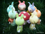 Pinkie Pie, the pink kokeshi Easter bunny, Miniature Dolls by Danita Art