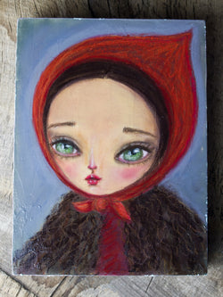 Little red riding hood in soft pastels on wood, a beautiful portrait painting drawing by Danita Art.