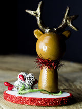 Rudolph the red nosed reindeer, a holiday wood kokeshi art doll created by Danita Art