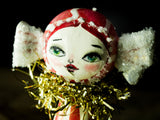 Peppermint candy girl, a holiday wood kokeshi art doll created by Danita Art
