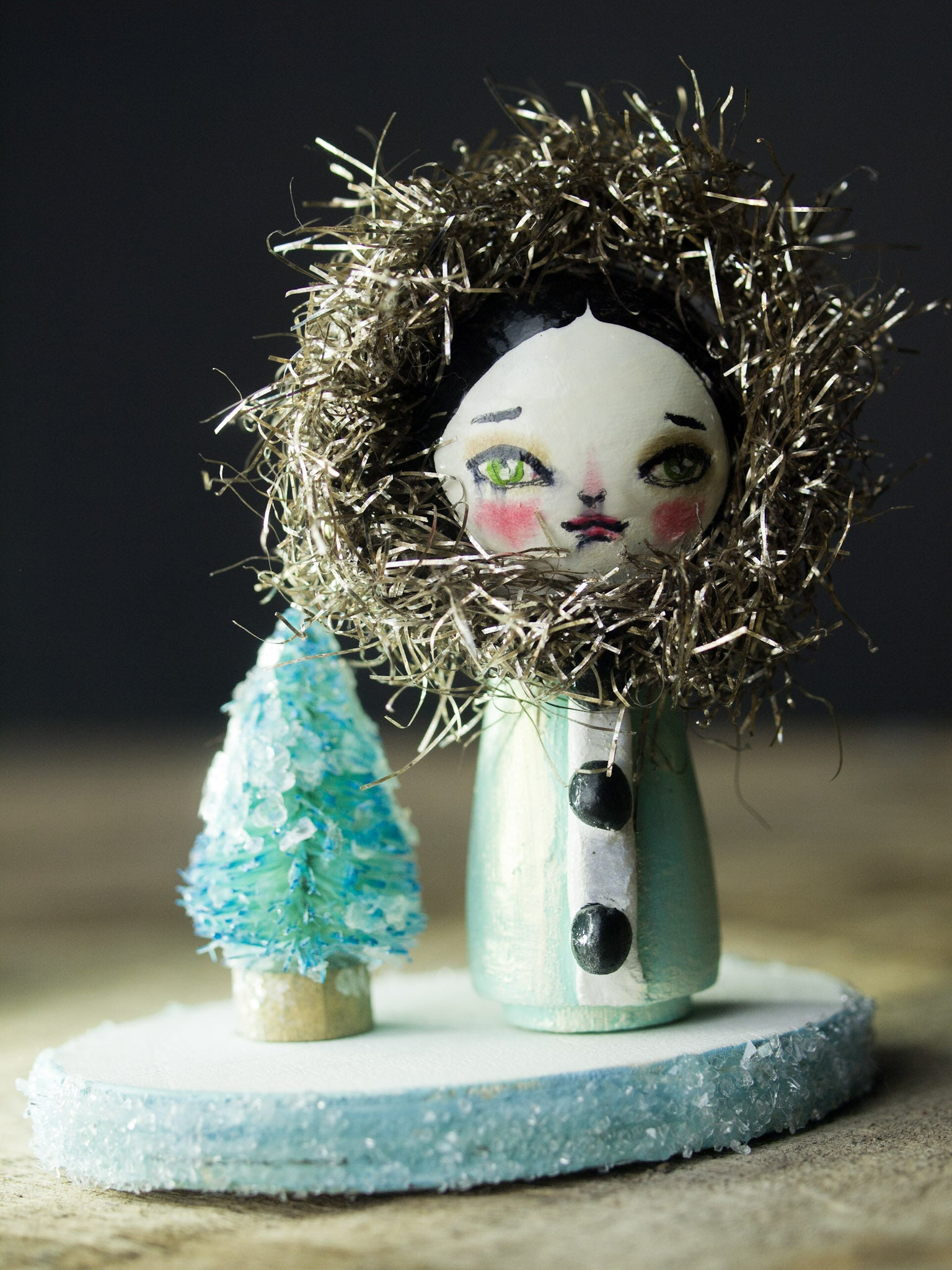 The queen of the North, a holiday wood kokeshi art doll created by Danita Art