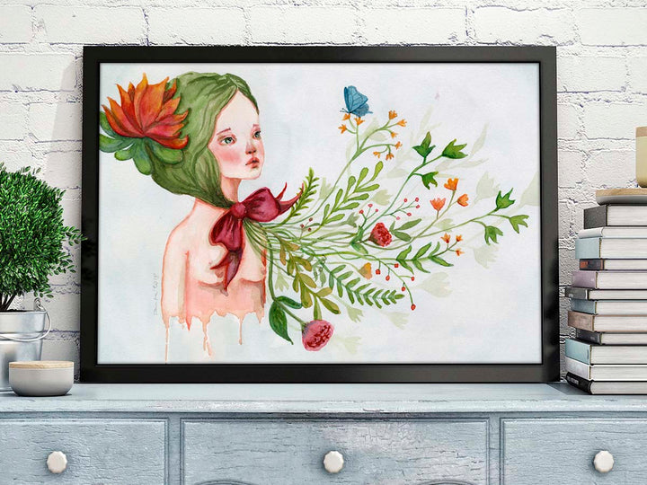 Nude girl woman in nature watercolor fine art painting poster print by Danita Art